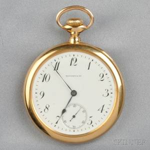 Antique 18kt Gold Open Face Pocket Watch Tiffany  Co