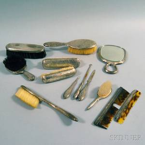 Assembled Group of Sterling Silvermounted Dresser Items