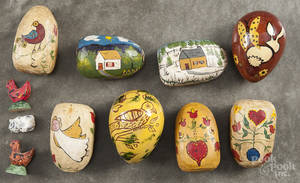 Six contemporary Daniel and Barbara Strawser carved and painted eggs