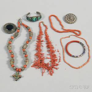Small Group of Coral and Silver Jewelry