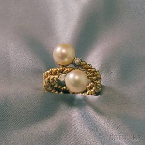 14kt Gold Cultured Pearl and Diamond Bypassstyle Ring