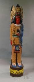 Carved Polychrome Cigar Stove Native American Figure