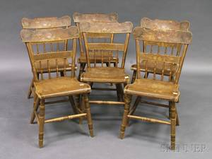 Set of Six Painted Country Side Chairs