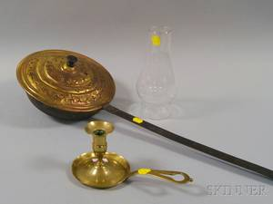 Brass Chamberstick and Wrought Iron and Brass Bedwarmer