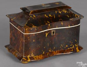 Regency tortoiseshell tea caddy early 19th c