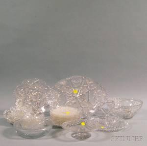 Twentyone Colorless Cut Glass Items