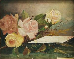 American School 20th Century Still Life with Flowers and a Letter