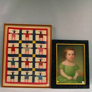 Pastel Portrait of a Young Girl and a Dolls Patchwork Quilt