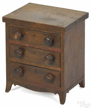 Miniature Pennsylvania walnut chest of drawers ca 1830