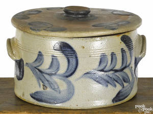Pennsylvania stoneware lidded cake crock 19th c