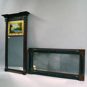 Federal Mahogany Veneer Eglomise Mirror and a Classical Splitbaluster Mirror