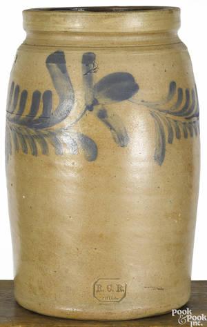 Philadelphia Remmey stoneware crock 19th c