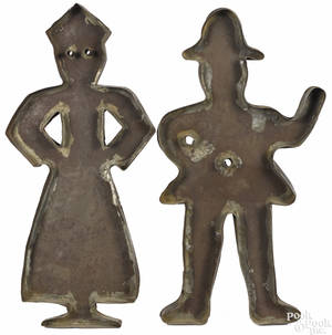 Pair of tinned sheet iron cookie cutters 19th c