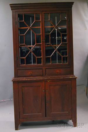 Country Twopiece Redpainted Glazed Stepback Cupboard