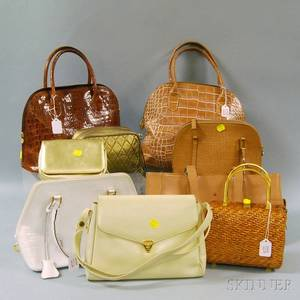 Nine White Brown and Metallic Handbags Purses and Clutches