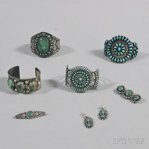 Small Group of Southwestern Silver and Turquoise Jewelry