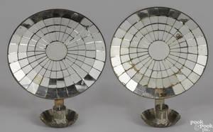 Pair of mirrored tin sconces 19th c