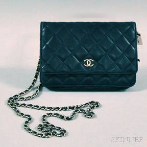 Chanel Navy Blue Quilted Lambskin Crossbody Bag