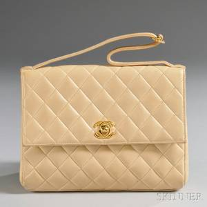 Chanel Cameltone Quilted Lambskin Clutch
