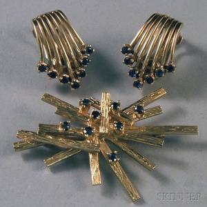 Small Group of 14kt Gold and Sapphire Jewelry