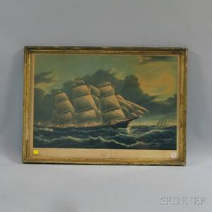 After Nathaniel Currier publisher American 18131888 Clipper Ship Dreadnought Off Tuskar Light
