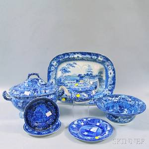 Seven Pieces of Blue and White Transferdecorated Tableware