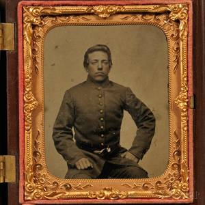 Sixthplate Tintype Portrait of a Young Soldier