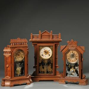 EN Welch Ruddygore and Two Other Walnut Parlor Clocks