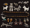 Ten sterling silver animal brooches