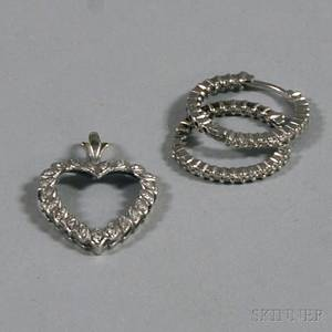 Pair of 18kt White Gold and Diamond Hoop Earrings and a 14kt White Gold and Diamond Heart Pendant