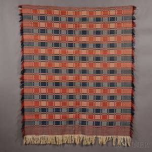 Red White and Blue Overshot Coverlet