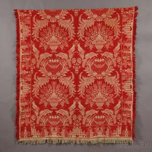 Woven Red and White TiedBeiderwand Coverlet with Bostontown Border