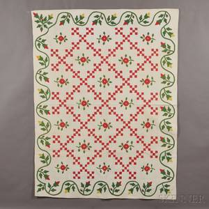 Pieced and Appliqued Cotton Irish Chain Quilt with Undulating Budding Vine Border