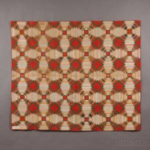 Pieced Cotton Log Cabin Variant Quilt