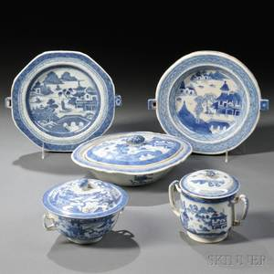 Five Blue and White Canton Porcelain Serving Dishes