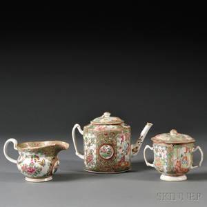 Three Assembled Rose Medallion Porcelain Tea Ware Items