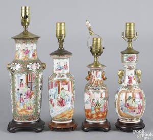 Four Chinese export porcelain famille rose table lamps 19th c
