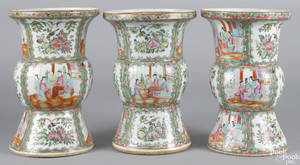 Three Chinese export porcelain famille rose vases 19th c