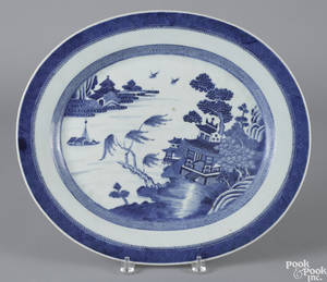 Chinese export porcelain blue and white Nanking platter 19th c