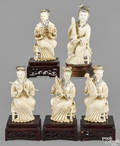 Five Chinese carved ivory figures of female musicians ca 1900