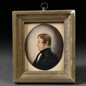Samuel Rowell MassachusettsNew Hampshire 18151890 Profile Portrait Miniature of a Young Man Joseph Ropes