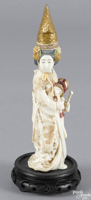 Chinese or Japanese carved and polychrome ivory figure of a woman with drums ca 1900