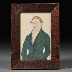 American School 19th Century Small Portrait of a Young Man Wearing a Blue Jacket