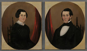 American School 19th Century Pair of Portraits of a Young Husband and Wife Seated in Gothicstyle Chairs c 1840s
