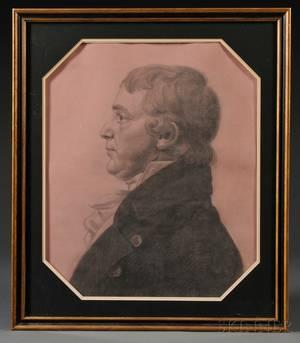 Atributed Charles Balthazar Julien Ferret de SaintMemen American 17701852 Profile Portrait of a Gentleman