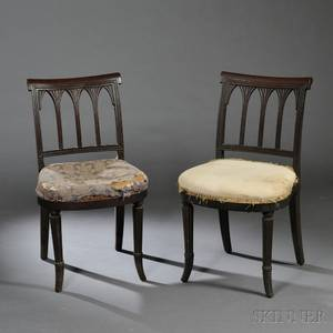 Pair of Carved Mahogany and Mahogany Veneer Side Chairs