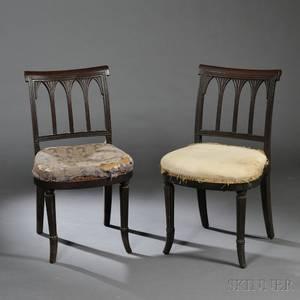Pair of Carved Mahogany and Mahogany Veneer Side Chairs