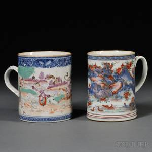 Large Chinese Export Cider Mug Decorated with a Hunt Scene and an Imaridecorated Mug