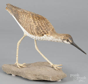 Contemporary carved and painted shorebird decoy