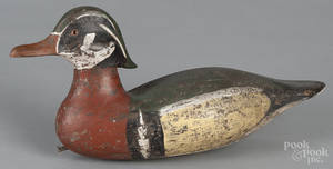 Carved and painted wood duck decoy